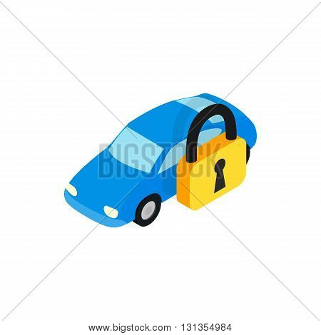 Car under arrest icon in isometric 3d style isolated on white background. Transport and service symbol