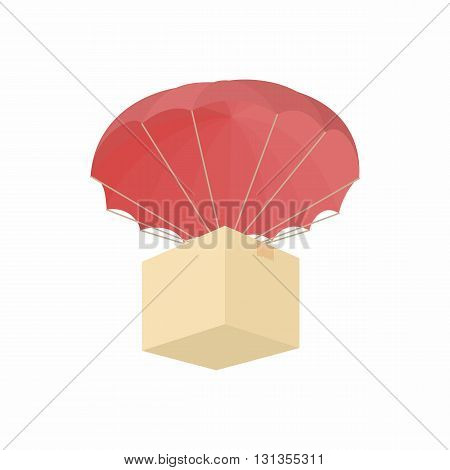 Humanitarian aid in a box with a parachute icon in cartoon style on a white background