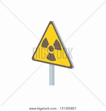 Radiation sign icon in cartoon style on a white background