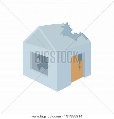 Destroyed house icon in cartoon style on a white background