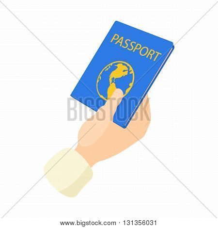 Hand holding passport icon in cartoon style on a white background