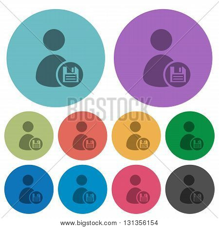 Color Save user account flat icon set on round background.