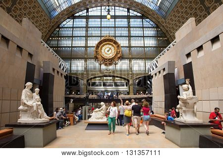 PARIS FRANCE - JUNE 7 2014: Musee d'Orsay. The museum was opened in 1986 the museum houses the largest collection of impressionist and post-impressionist masterpieces in the world.