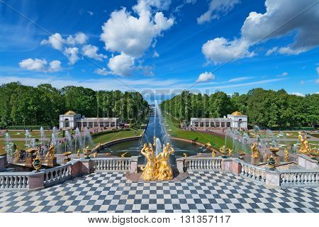 PETERHOF SAINT PETERSBURG RUSSIA - JUNE 10 2015: Peterhof Palace is known as Russian Versailles on June 10 2015 in Saint Petersburg Russia. The ensemble is recognized as a UNESCO World Heritage Site.