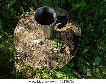Hot tea thermomug on the stump top view