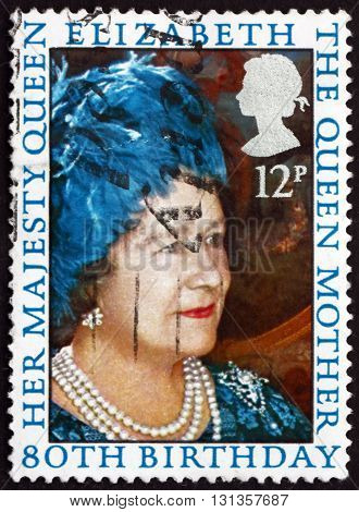 GREAT BRITAIN - CIRCA 1980: a stamp printed in Great Britain shows Queen Mother Elizabeth 80th Birthday circa 1980