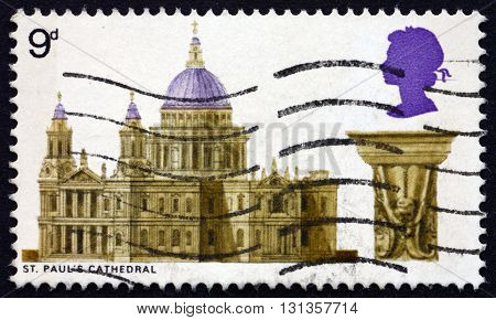 GREAT BRITAIN - CIRCA 1969: a stamp printed in Great Britain shows St. Paul's Cathedral circa 1969