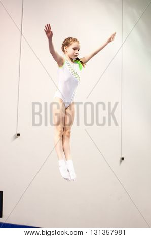 Orenburg, Russia - 30 April 2016: Girls Compete In Jumping On The Trampoline