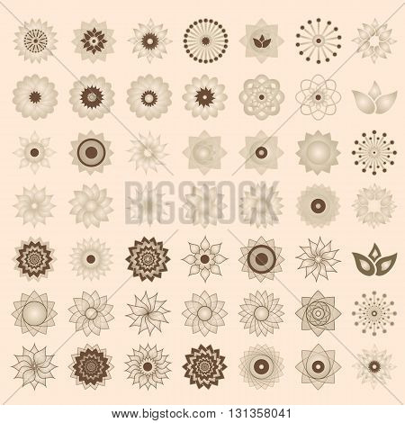 Pack Of 49 Transparent Light Ivory Abstract Geometric Flowers Logo Template. Business Abstract Icon.