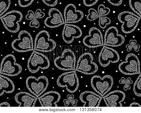 Vector floral seamless pattern with figured clover leaves