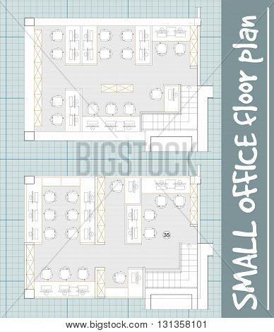 Standard office furniture symbols set used in architecture plans, office planning icon set, graphic design elements on blueprint. Small Office room - top view plans. Vector isolated.