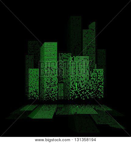 Green Night City Lights Landscape Design With Reflections In The Water. Vector Illustration