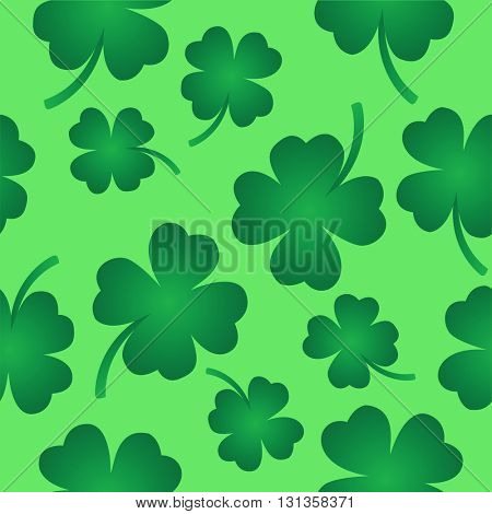 four leaf clover seamless pattern on green