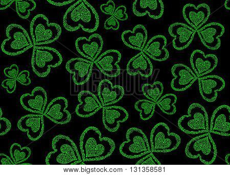 Vector seamless pattern with green figured clover leaves for St. Patrick's day