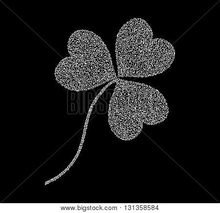 Decorative figured vector clover leaf. You can use it as a St. Patrick's day background