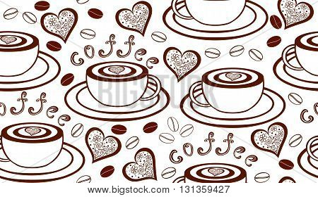 Vector seamless pattern with coffee cups, hearts and coffee beans