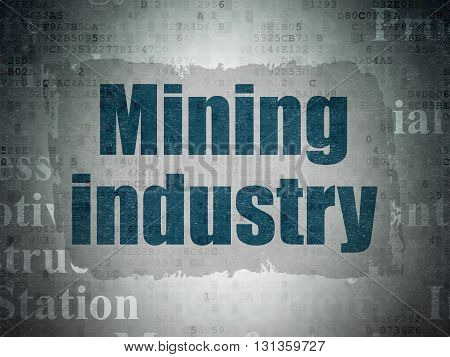 Industry concept: Painted blue text Mining Industry on Digital Data Paper background with   Tag Cloud