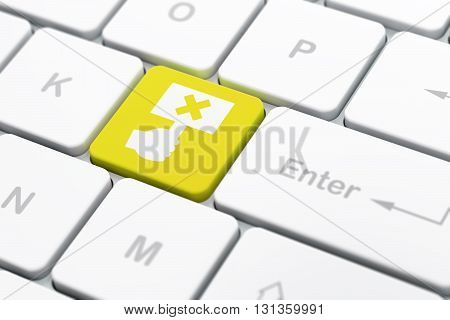 Politics concept: computer keyboard with Protest icon on enter button background, selected focus, 3D rendering