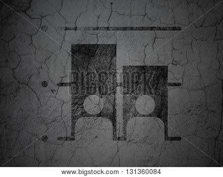 Political concept: Black Election on grunge textured concrete wall background