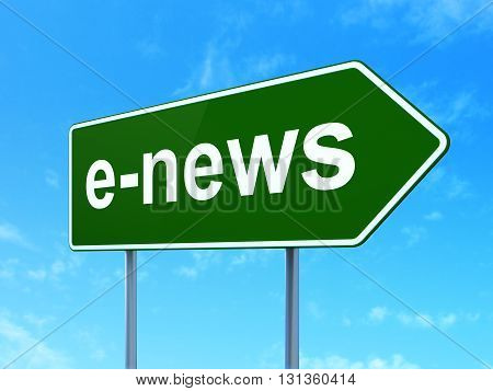 News concept: E-news on green road highway sign, clear blue sky background, 3D rendering