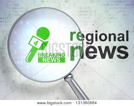 News concept: magnifying optical glass with Breaking News And Microphone icon and Regional News word on digital background, 3D rendering