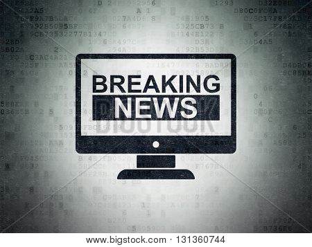 News concept: Painted black Breaking News On Screen icon on Digital Data Paper background