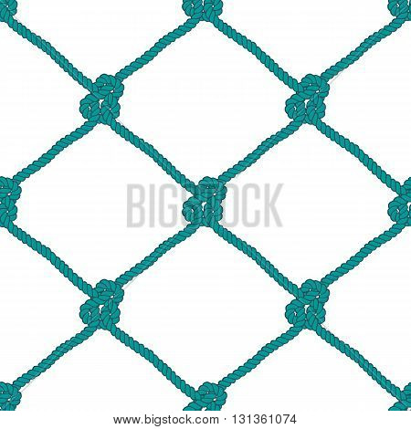 Seamless nautical rope knot pattern. Endless navy illustration with green fishing net ornament and marine knots on white backdrop. Trendy maritime style background. For fabric, wallpaper, wrapping.