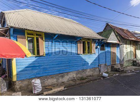 scenic wooden hut in the quarter Carib Territory in Roseau Dominica