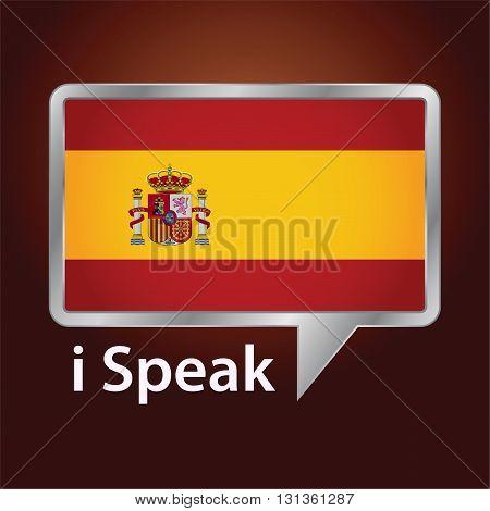 Vector stock of Spain flag inside speech bubble Speaking Spanish language