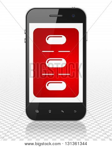 Healthcare concept: Smartphone with red Pills Blister icon on display, 3D rendering