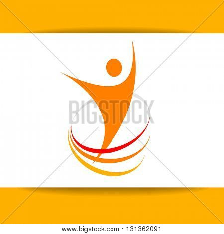 Success logo design. Energy symbol. Winner logo template. Human abstract.