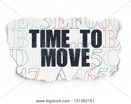 Time concept: Painted black text Time to Move on Torn Paper background with  Hexadecimal Code
