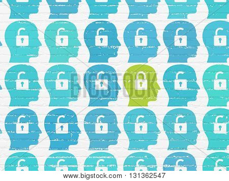 Business concept: rows of Painted blue head with padlock icons around green head with padlock icon on White Brick wall background