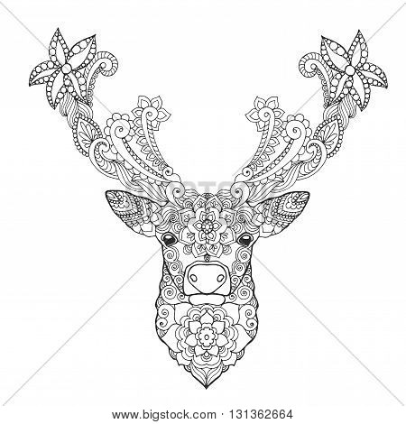 Deer head. Black white hand drawn doodle animal. Ethnic patterned vector illustration. African, indian, totem, tribal, zentangle design. Sketch for coloring page, tattoo, poster, print, t-shirt