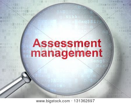 Finance concept: magnifying optical glass with words Assessment Management on digital background, 3D rendering