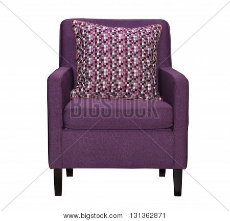 Purple textile chair isolated on white background. Chair furniture with pillows