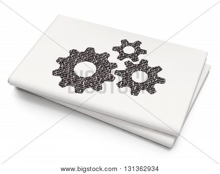 Business concept: Pixelated black Gears icon on Blank Newspaper background, 3D rendering