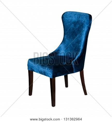 Blue textile modern chair isolated on white background