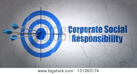 Success finance concept: arrows hitting the center of target, Blue Corporate Social Responsibility on wall background, 3D rendering