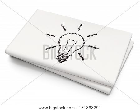 Business concept: Pixelated black Light Bulb icon on Blank Newspaper background, 3D rendering