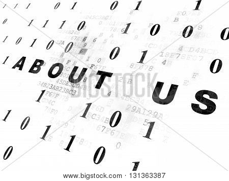 Finance concept: Pixelated black text About us on Digital wall background with Binary Code
