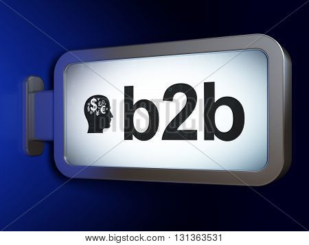 Finance concept: B2b and Head With Finance Symbol on advertising billboard background, 3D rendering
