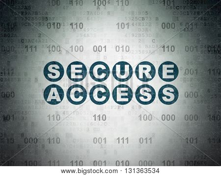 Security concept: Painted blue text Secure Access on Digital Data Paper background with Binary Code
