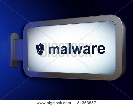 Security concept: Malware and Broken Shield on advertising billboard background, 3D rendering