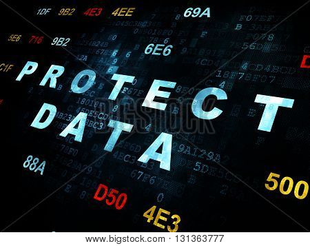 Privacy concept: Pixelated blue text Protect Data on Digital wall background with Hexadecimal Code