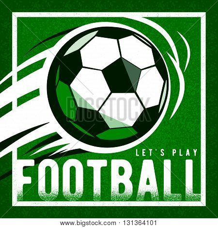 Soccer football green background with ball and quote sign. Grain texture