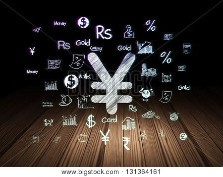 Currency concept: Glowing Yen icon in grunge dark room with Wooden Floor, black background with  Hand Drawn Finance Icons