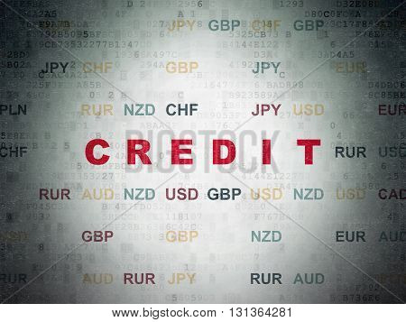 Banking concept: Painted red text Credit on Digital Data Paper background with Currency