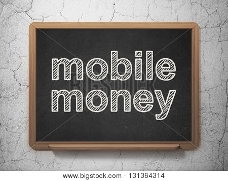 Money concept: text Mobile Money on Black chalkboard on grunge wall background, 3D rendering