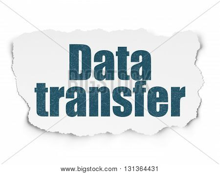 Data concept: Painted blue text Data Transfer on Torn Paper background with Scheme Of Binary Code